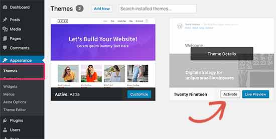 Aktifkan tema WordPress default
