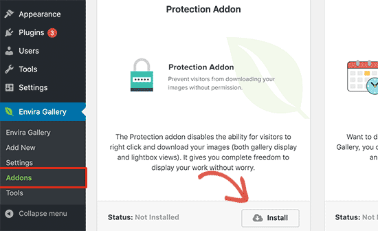 Install protection addon