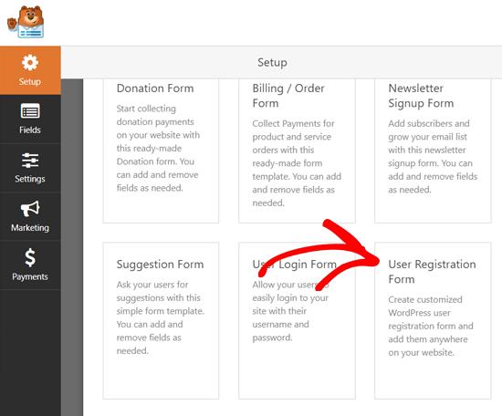 Pilih WPForms Templat Formulir Pendaftaran Pengguna