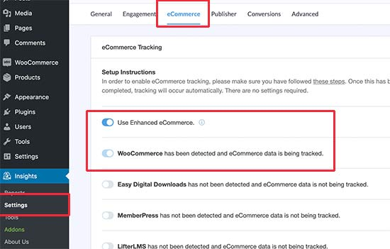 Turning on eCommerce tracking in MonsterInsigtts