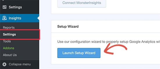 Launch setup wizard
