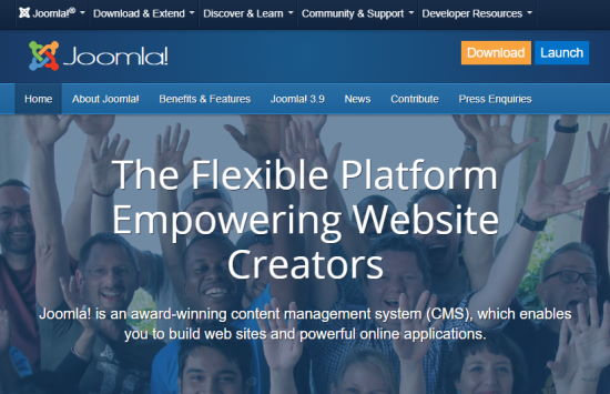 The Joomla front page