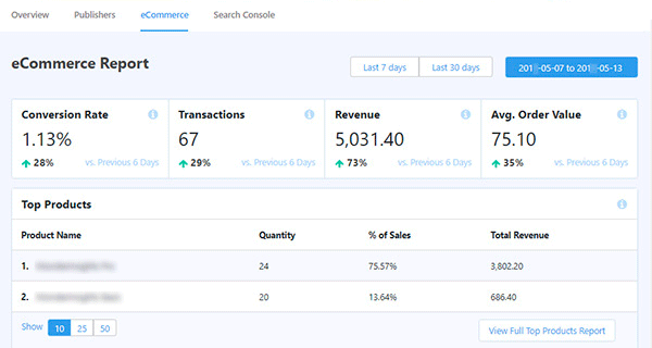 MonsterInsights eCommerce reporting overview