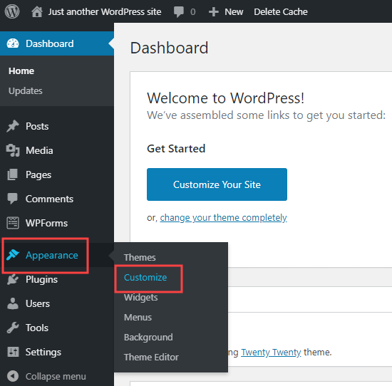 WordPress dashboard showing where to find Appearance - Customize