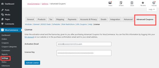 Aktifkan plugin kupon lanjutan dengan memasukkan kunci lisensi