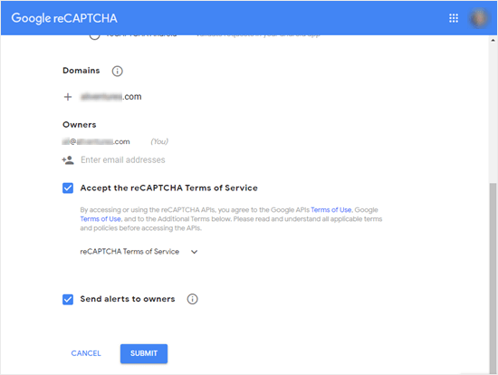Filling in your site's details for Google reCAPTCHA