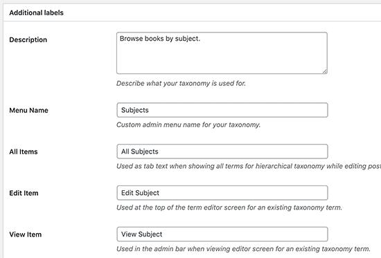 Labeling your WordPress taxonomy