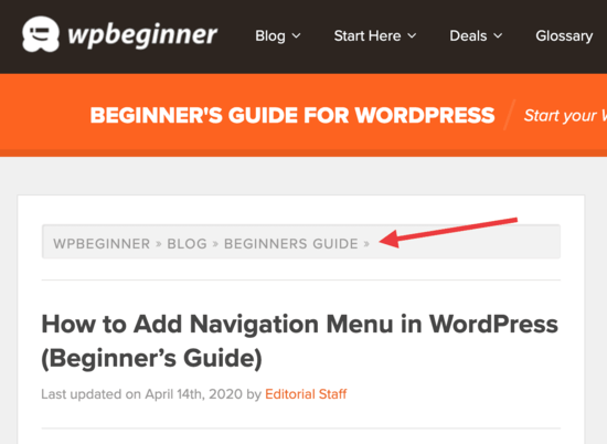 Breadcrumbs displayed on WPBeginner website