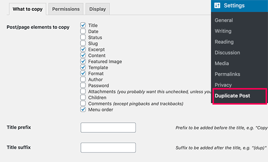 Duplicate post settings