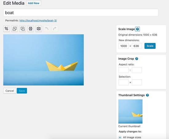 WordPress beeldbewerkingsfuncties