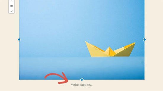 Write caption for an image in WordPress
