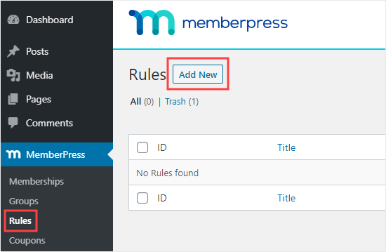 Click the Add New button to create a new rule