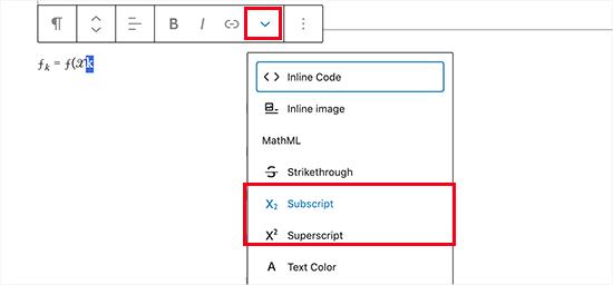 Menggunakan subskrip dan superskrip di blok paragraf WordPress