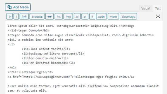 Klasik düzenleyicide düzeltilmiş biçimlendirme kodu