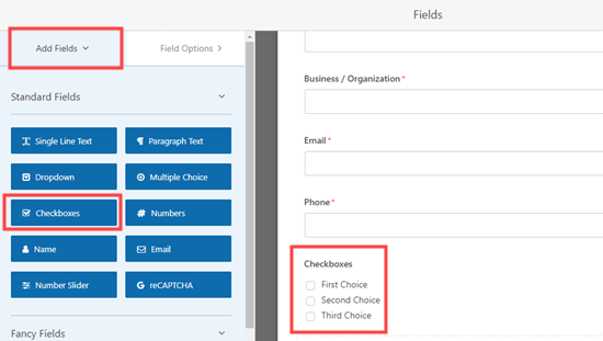 Adding a checkboxes field to your request a quote form