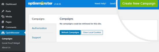 Click the Create New Campaign button to create a new campaign in OptinMonster