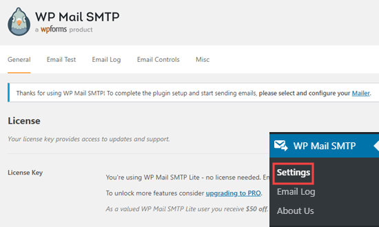 Halaman pengaturan plugin SMTP WP Mail