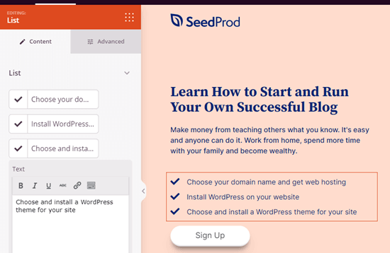 A list block in SeedProd