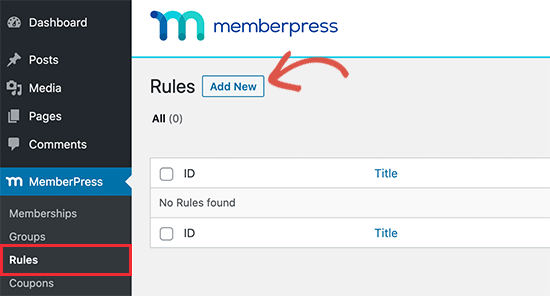 Create new access rule