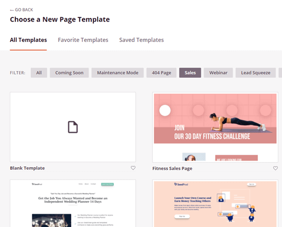 Choosing your page template in SeedProd