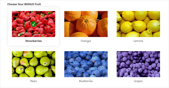 An example of image choices in use in a form: shows colorful images for 6 fruit options