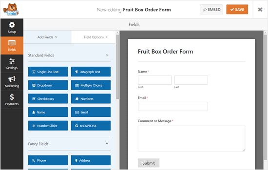 The default form created using WPForms' Contact Form template