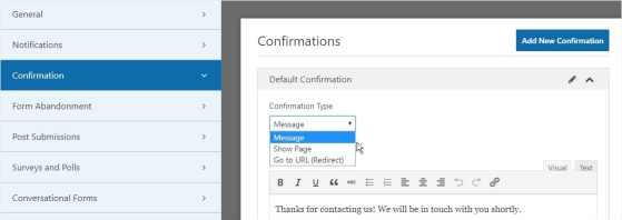 WpForm-Confirmation-Type-settings