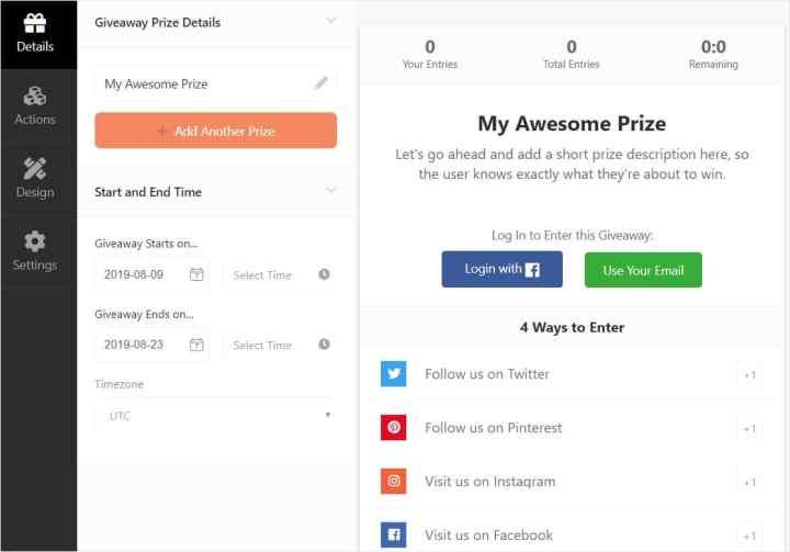 rafflepress plugin free giveaway template