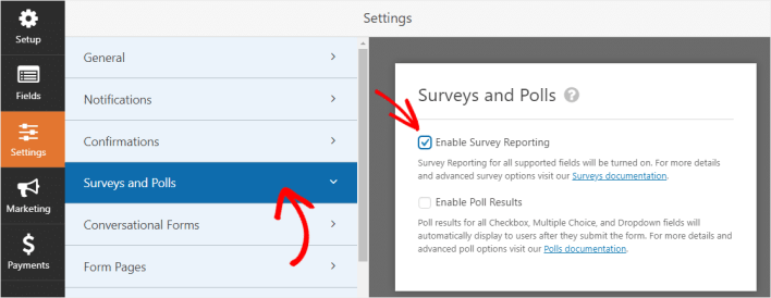 enable surveys on cancellation form
