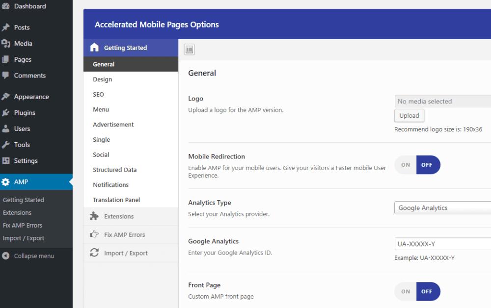 AMP pentru personalizarea WP
