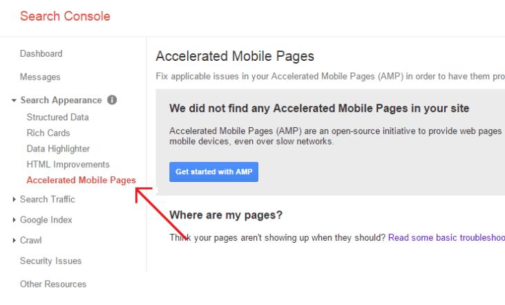 Vedeți AMP în Consola de căutare Google