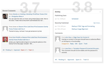 WordPress Dashboard (3.8) - Comments/Activity