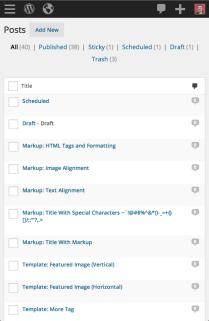 WordPress 3.8 - Mobile Posts Screen
