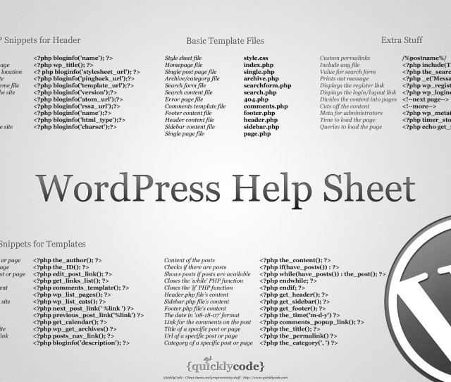 Infographic Quickly Code WordPress Help Sheet