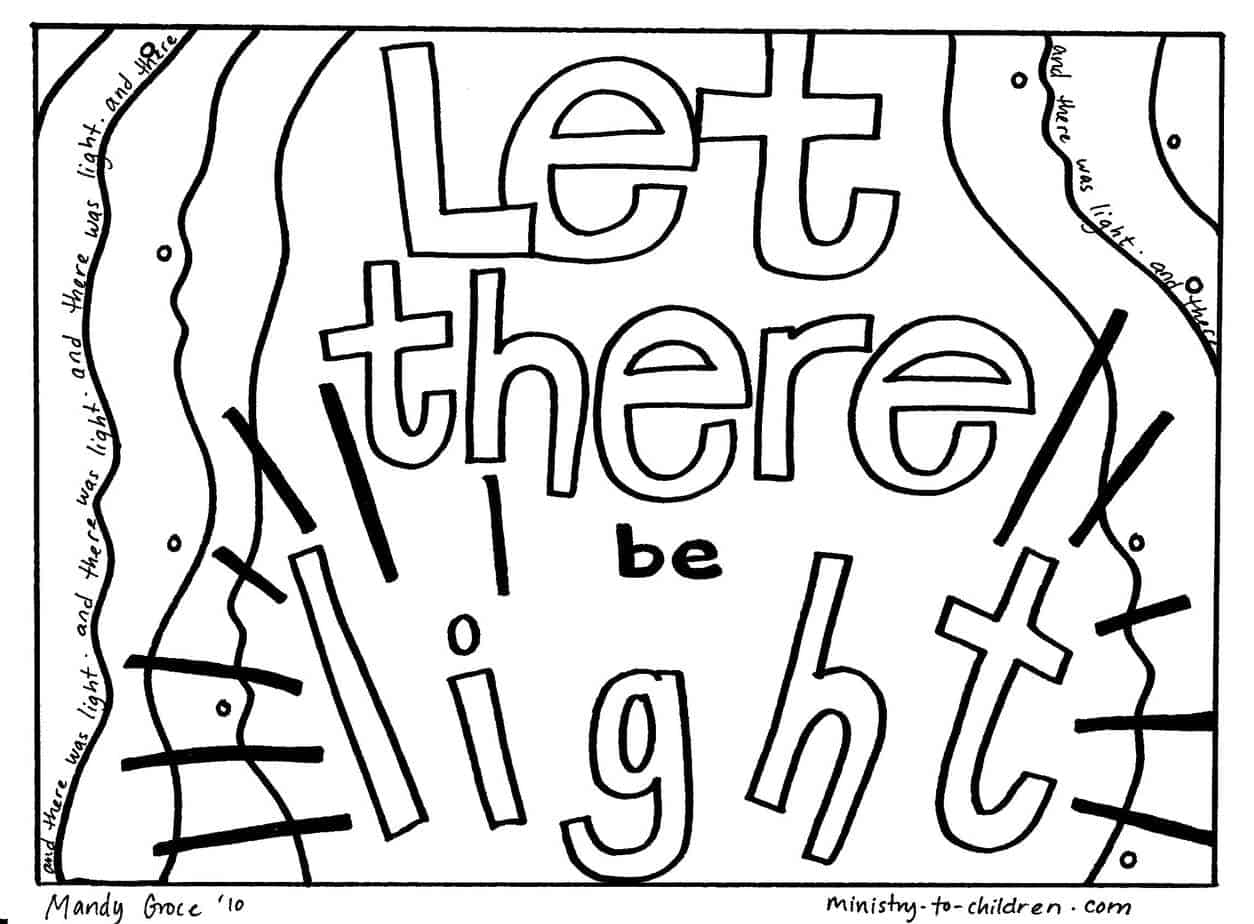 Free Creation Coloring Pages Let There Be Light