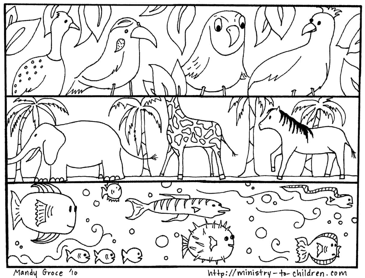 Creation Coloring Pages God Made The Animals Fish Birds