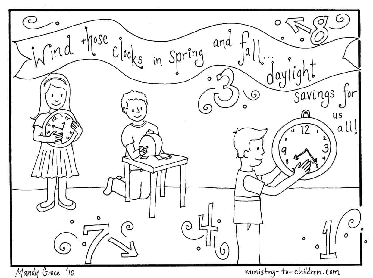 Daylight Savings Time Coloring Page Free Printable