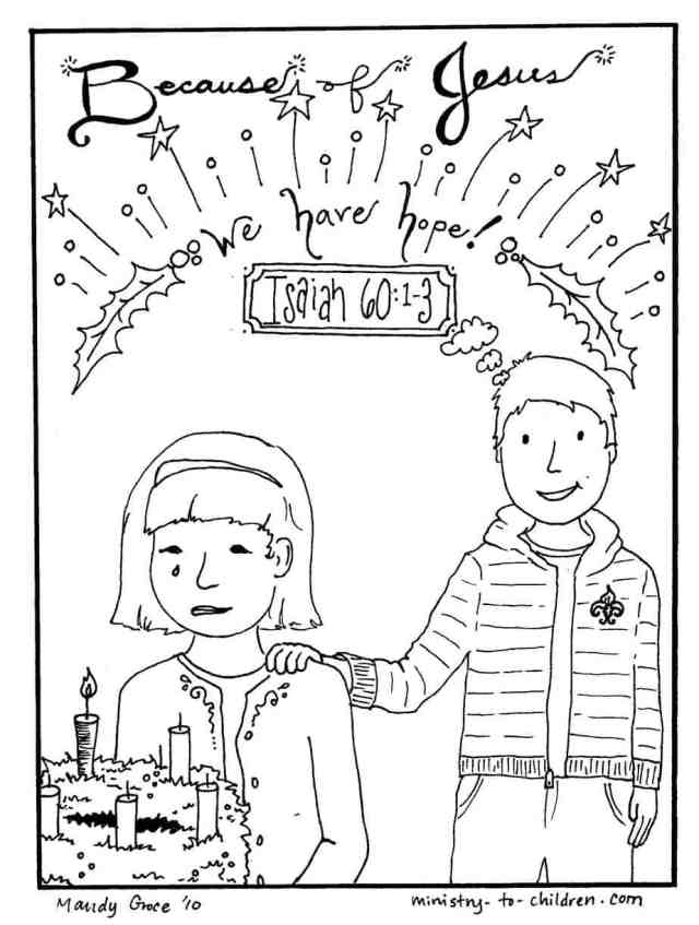"""Christmas Coloring Pages """"Jesus Gives Hope"""" Free Printable"""