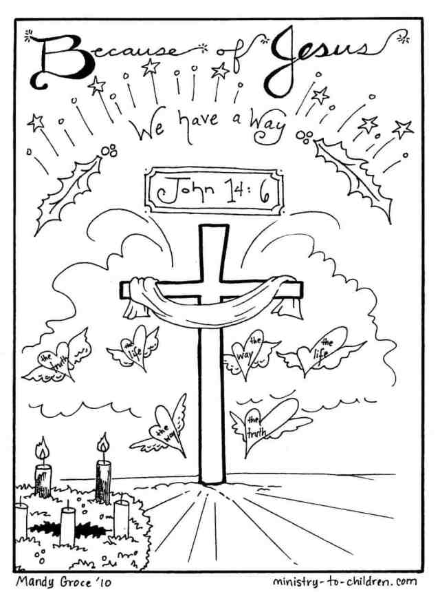 """Christmas Coloring Sheets """"Jesus is our Way """" Free Printable"""