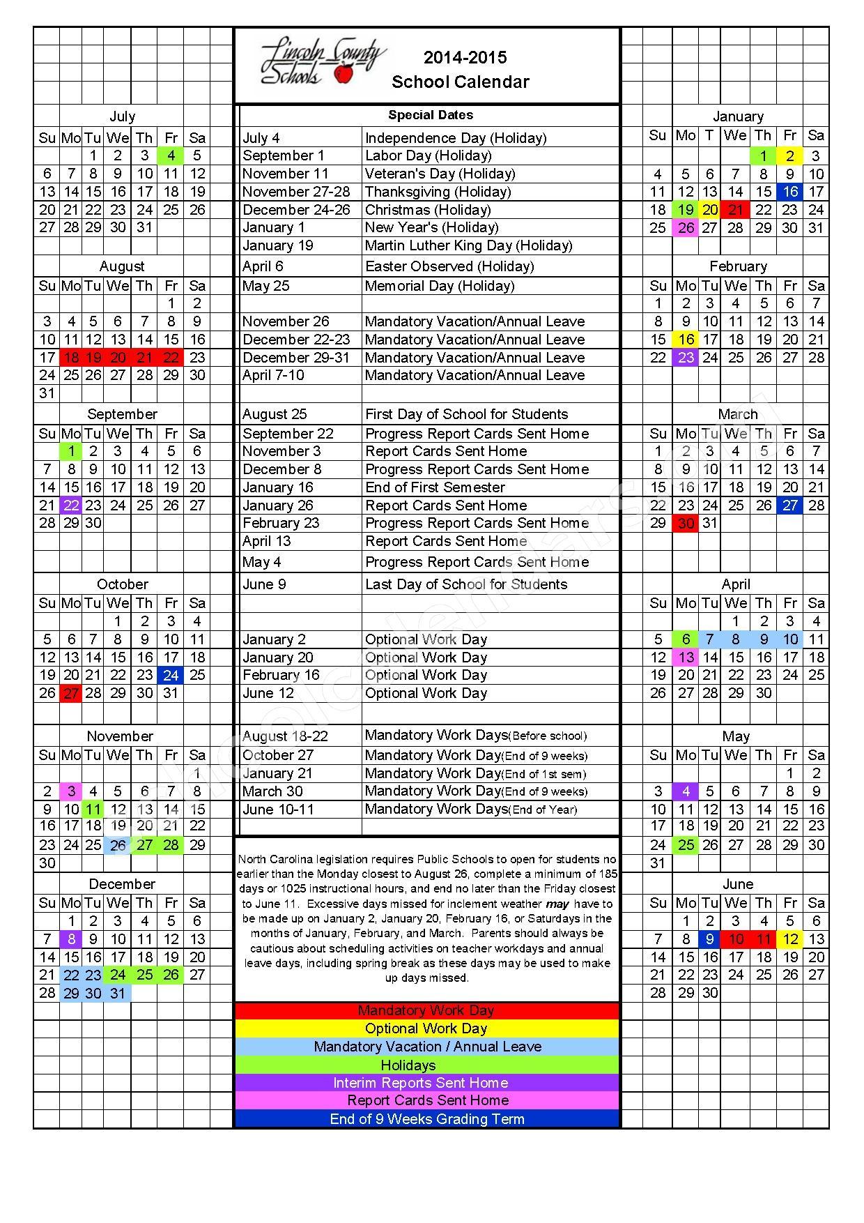 Love Memorial Elementary School Calendars Lincolnton Nc