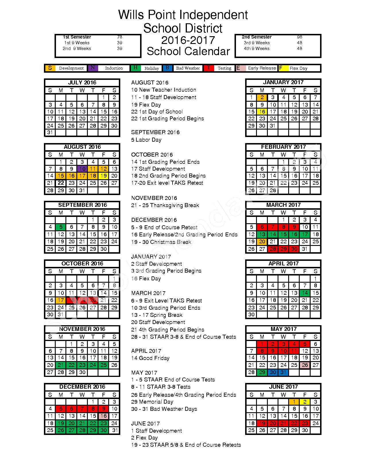 Wills Point Independent School District Calendars Texas
