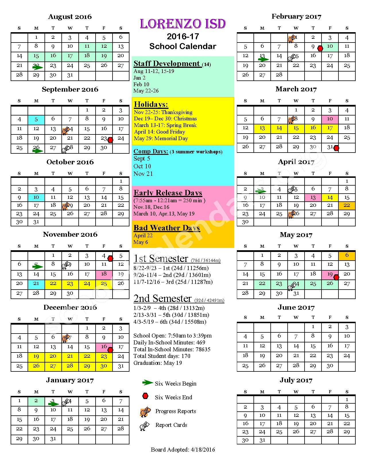 Lorenzo Independent School District Calendars Texas