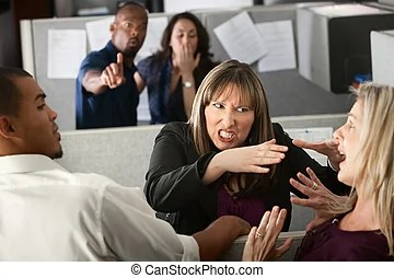 Image result for Cartoon+fighting with a female coworker