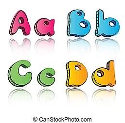 Download Cartoon alphabet on square colored paper abc font. Cartoon ...