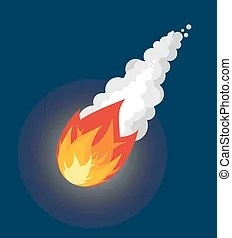 Flying comet and glowing stars vectors illustration ...