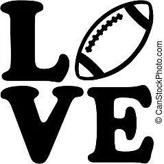 Download Football love. Symbol of a red heart and football on a ...