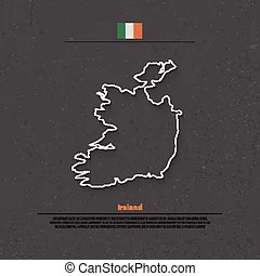 Ireland  Republic of ireland isolated map and official flag icons     Republic of Ireland isolated map and official flag icons  vector Irish  political map thin line icon over grunge background  EU geographic banner  template