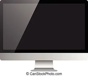 Blank Monitor Screen Computer Mockup Checked Transparent Background