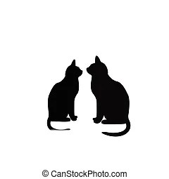 Download Silhouette of two black cats in love.