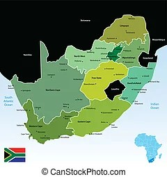 South central africa political map  Political map of south central     map of Republic of South Africa